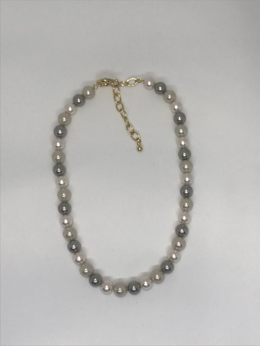 Necklace 10mm- 16/18 inches long due to the gold plated extender clasp.