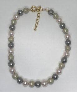 Necklace 12 mm- 16/18 inches long due to the fold plated extender clasp. Combination of iridescent pink, grey, and light taupe Pearls